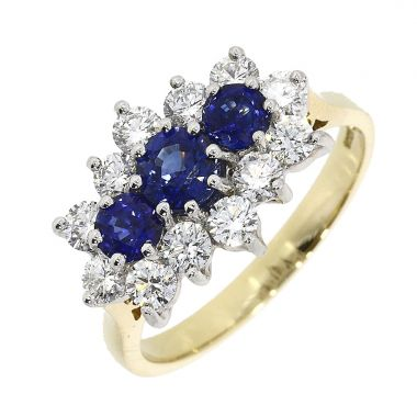 Sapphire & Diamond Shaped Cluster 18ct Ring