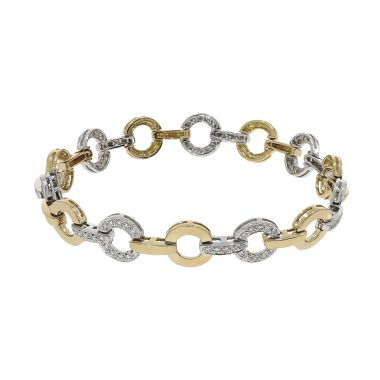 Diamond Two Tone Pave Circle 18ct Bracelet