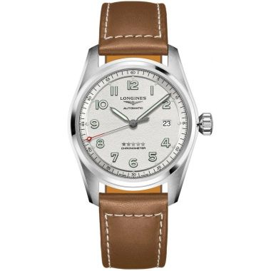 Longines Spirit Automatic Chronometer Silver Dial Brown Strap 40mm