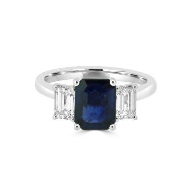 3 Stone Sapphire & Diamond 18ct Ring