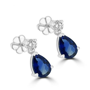 Sapphire & Diamond Drop 18ct Earrings