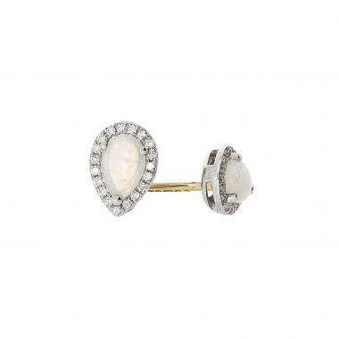 Opal & Diamond 18ct Pear Shaped Earrings