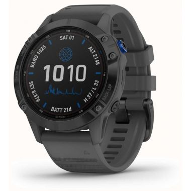 Garmin Fenix 6 Pro Solar - Black With Slate Grey Rubber Strap
