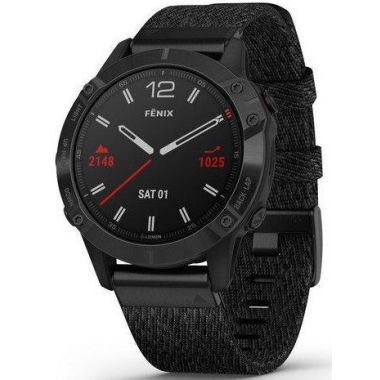 Garmin Fenix 6 Pro Sapphire - Black DLC Nylon Strap and Black Rubber Strap