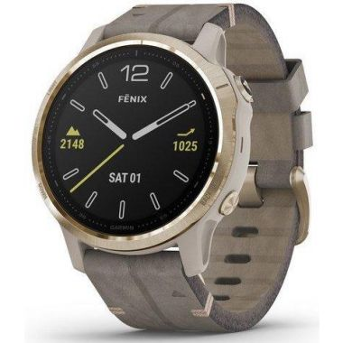 Garmin Fenix 6S Pro Solar - Light Gold With Shale Grey Suede Band