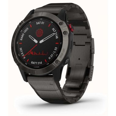 Garmin Watch Fenix 6 Pro Solar Titanium Carbon Grey DLC With Titanium DLC Band