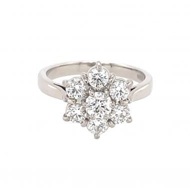 Diamond Flower Cluster Platinum 1.01ct Ring