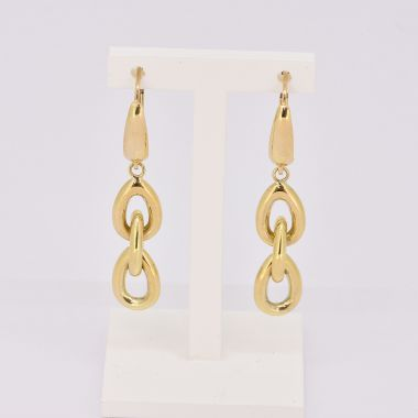 Oval Link 9ct Yellow Gold Drop Earrings