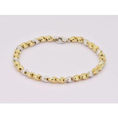 Circular Link 9ct Yellow & White Gold Bracelet