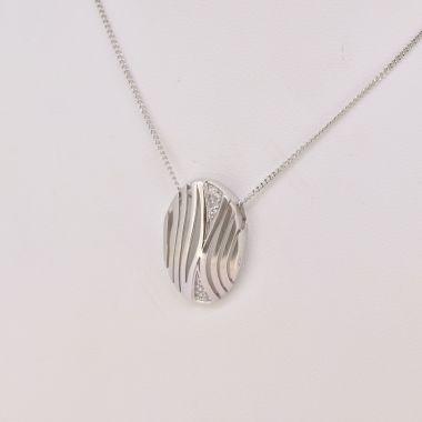 Wavy Diamond Set Pendant on Chain