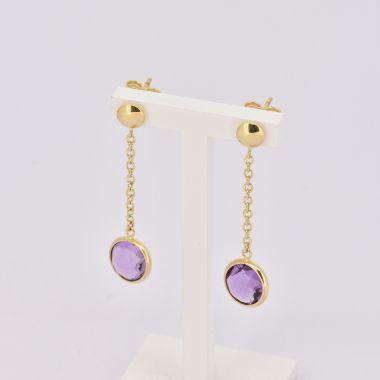 Amethyst Drop 9ct Yellow Gold Earrings