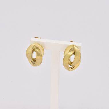 Link Style Polished & Brushed 9ct Yellow Gold Earrings