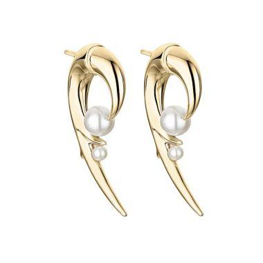 Shaun Leane Yellow Gold Vermeil Cherry Blossom Pearl Hook Earrings