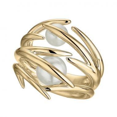 Shaun Leane Yellow Gold Vermeil Cherry Blossom Double Pearl Ring
