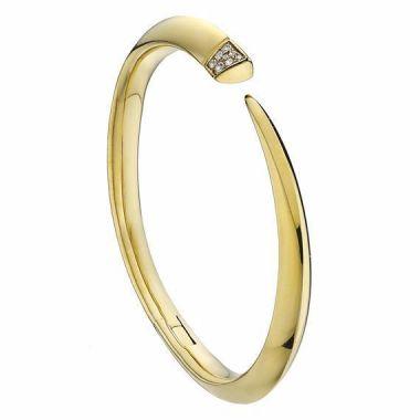 Shaun Leane Yellow Gold Vermeil Diamond Tusk Bangle