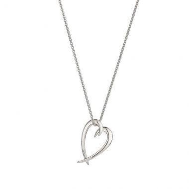 Shaun Leane Silver Diamond Hooked Heart Pendant