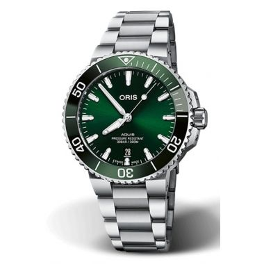 Oris Aquis Date Green Dial Watch 41.5mm