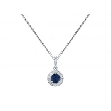 Sapphire & Diamond Cluster 18ct Pendant