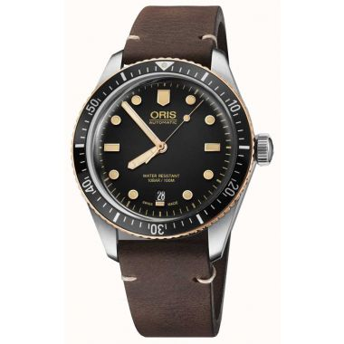 Oris Divers Sixty-Five Leather Strap Watch 40mm