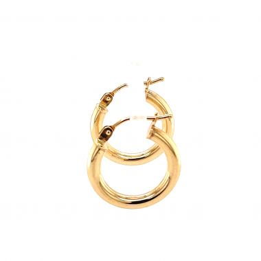 9ct Yellow Gold 2.3mm Round, 10mm Hoop Earrings