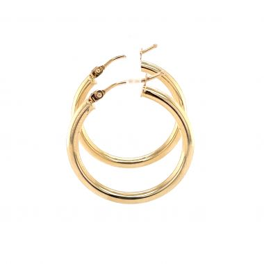 9ct Yellow Gold 2.3mm Round, 20mm Hoop Earrings