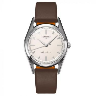 Longines Heritage Silver Arrow Brown Leather Strap 38.5mm L28344722