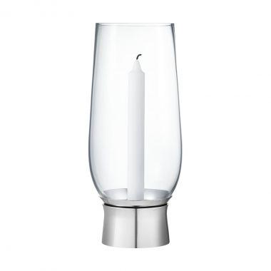 Georg Jensen Lumis hurricane candleholder, Medium - Mouth-blown glass, Stainless steel