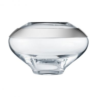 Georg Jensen DUO Vase Small, Mouth-blown glass, Mirror polished stainless steel