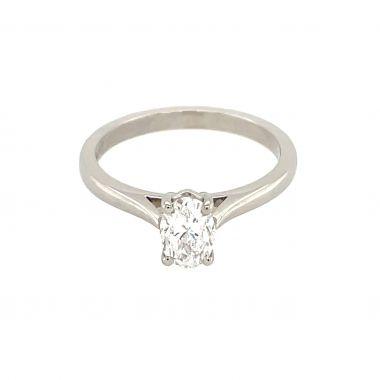 Platinum Oval Single Stone 0.70ct Diamond Ring