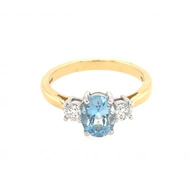 3 Stone Aquamarine & Diamond 18ct Ring