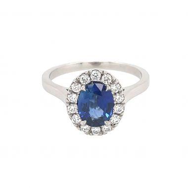 Sapphire & Diamond Platinum Cluster Ring