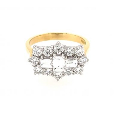 Diamond Shaped 18ct Cluster Ring
