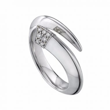 Shaun Leane Silver Diamond Tusk Ring