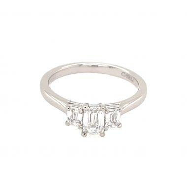 3 Stone Diamond Emerald Cut 0.79ct Platinum Ring