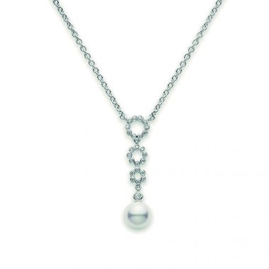 Mikimoto White Gold Diamond and Pearl Necklace