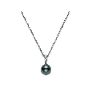 Mikimoto Black Tahitian Pearl & Diamond Necklace