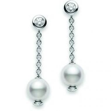 Mikimoto Diamond and Pearl Drop Earrings