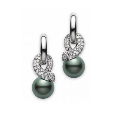 Mikimoto Moderna 8 Black South Sea & Diamond Earrings
