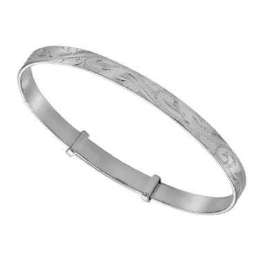 Silver New Born Bangle Engraved