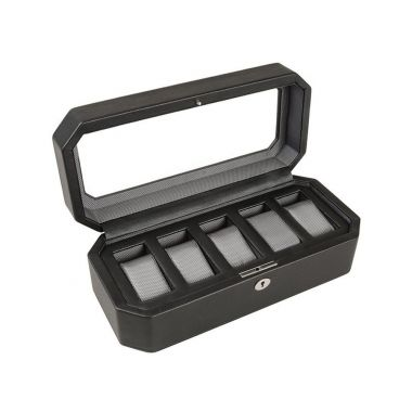 Wolf Windsor 5 Piece Watch Box Black
