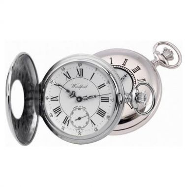 Woodford Half Hunter Chrome Plated Full Size Pocket Watch
