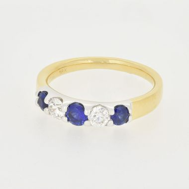 5 Stone Sapphire & Diamond 18ct Ring