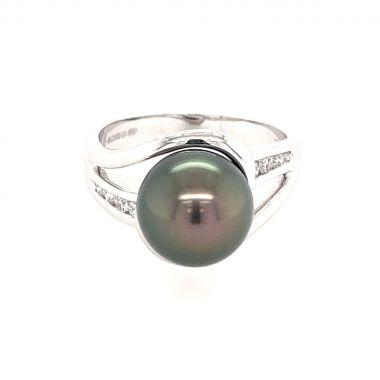 Black South Sea Pearl & Diamond 18ct Ring