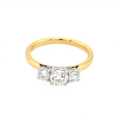 3 Stone Yellow Gold Diamond Ring