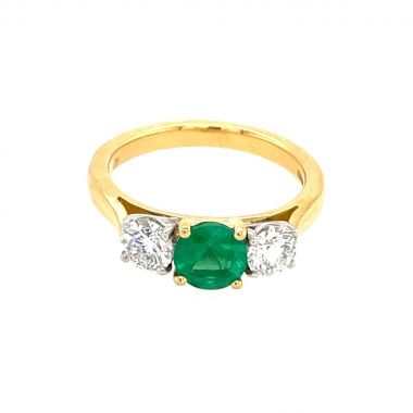 3 Stone Emerald & Diamond 18ct Ring