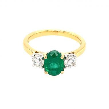 Emerald & Diamond 3 Stone 18ct Ring
