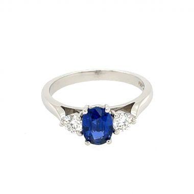 Sapphire & Diamond 3 Stone 18ct Ring