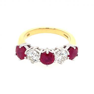 5 Stone Ruby & Diamond 18ct Ring