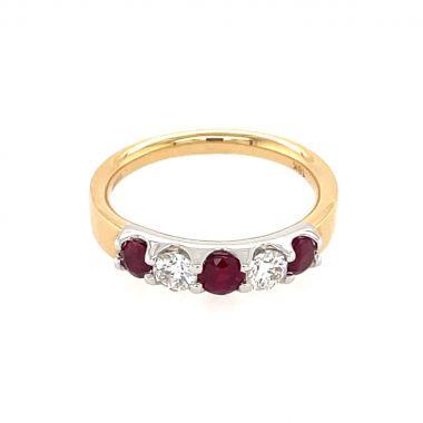 Ruby & Diamond 5 Stone 18ct Ring