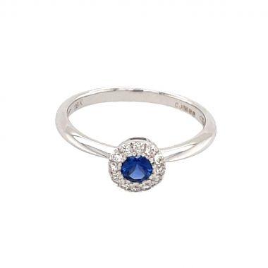 Round Sapphire & Diamond Cluster 18ct Ring